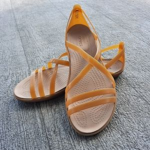 Crocs matte gold sandals